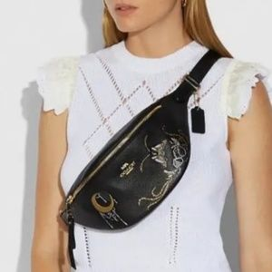 Coach Black Moth Belt Bag With Chelsea Animation